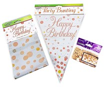 Happy Birthday Decoration Kit - Bunting, Banner & Confetti Pack