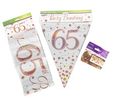 Age 65 Birthday Decoration Kit - Bunting, Banner & Confetti Pack
