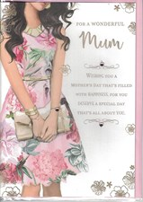 Mother's Day Card - Woman Wearing A Floral Dress