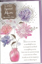 Mother's Day Card - Illustrated Vase Of Flowers And A 3D Embellishment