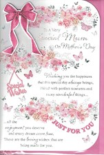 Mother's Day Card - Pink Bow And Flowers Surrounding A Heartfelt Message
