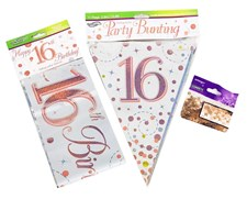 Age 16 Birthday Decoration Kit - Bunting, Banner & Confetti Pack