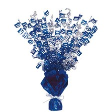 Blue Glitz Age One Hundred Balloon Weight Centrepiece