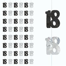 Black Glitz 18th Birthday Hanging Decoration Pack of 6 Strings