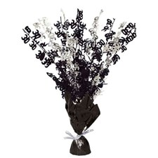 Black Glitz 30th Balloon Weight Centrepiece