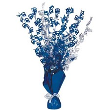 Blue Glitz 40th Balloon Weight Centrepiece