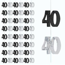 Black Glitz 40th Birthday Hanging Decoration - Pack of 6 Strings