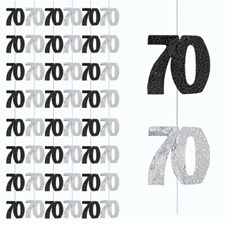 Black Glitz 70th Birthday Hanging Decoration - Pack of 6 Strings