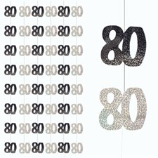 Black Glitz 80th Birthday Hanging Decoration - Pack of 6 Strings