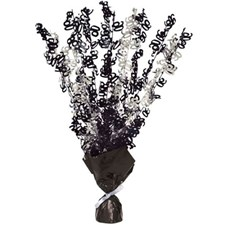 Black Glitz 90th Balloon Weight Centrepiece