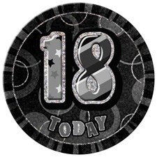 Birthday Black Glitz Age 18 Happy Birthday Large Badge