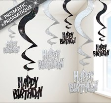 Black All Ages Glitz Birthday Swirling Hanging Decoration - Pack of 6 Strings