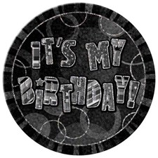 Black Glitz Happy Birthday Paper Plates - Pack of 8