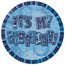 Blue Glitz Happy Birthday Paper Plates – Pack of 8