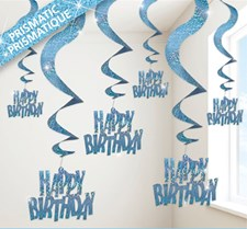 Blue Glitz Happy Birthday Swirling Hanging Decoration - Pack of 6 Strings