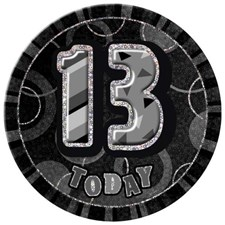 Birthday Black Glitz Age 13 Happy Birthday Large Badge