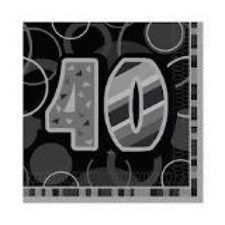 Black Glitz Age 40  Napkins - Pack of 16