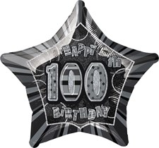 Birthday Black Glitz Age One Hundred Birthday Star Shape Foil Balloon