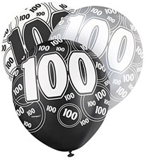 Black Glitz Age One Hundred Happy Birthday Latex Balloons - Pack of 6