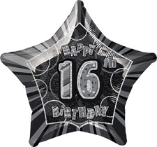 Birthday Black Glitz 16th Birthday Star Shape Foil Balloon