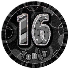 Birthday Black Glitz Age 16 Happy Birthday Large Badge