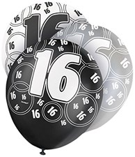 Black Glitz Age 16 Happy Birthday Latex Balloons - Pack of 6
