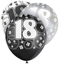 Black Glitz Age 18 Happy Birthday Latex Balloons - Pack of 6