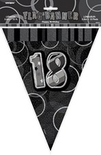 Birthday Black Glitz 18th Bunting – 12 Ft / 3.65m