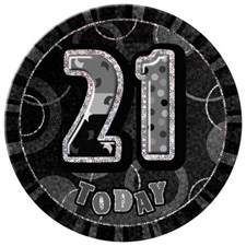 Birthday Black Glitz Age 21st Happy Birthday Large Badge