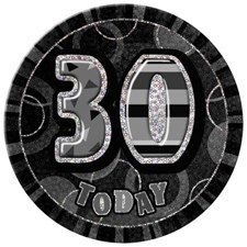 Birthday Black Glitz Age 30 Happy Birthday Large Badge