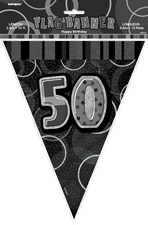 Birthday Black Glitz 50th Bunting – 12 Ft / 3.65m