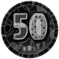 Birthday Black Glitz Age 50 Happy Birthday Large Badge