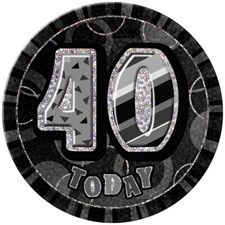 Birthday Black Glitz Age 40 Happy Birthday Large Badge