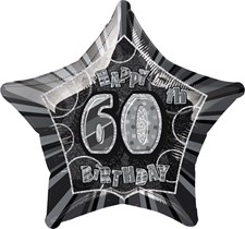 Birthday Black Glitz 60th Birthday Star Shape Foil Balloon