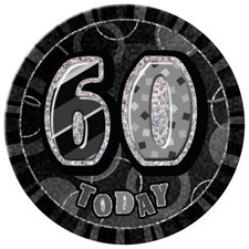 Birthday Black Glitz Age 60  Happy Birthday Large Badge