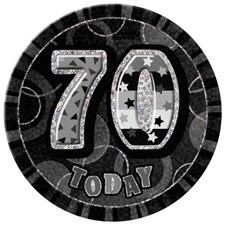 Birthday Black Glitz Age 70 Happy Birthday Large Badge