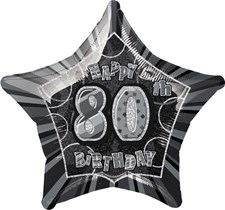 Birthday Black Glitz 80th Birthday Star Shape Foil Balloon