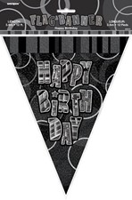 Birthday All Ages Black Glitz Happy Bunting - 12 ft/ 3.65m