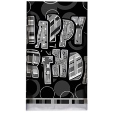 Black Glitz Happy Birthday Plastic Table Cover