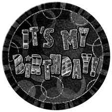 Birthday All Ages Black Glitz 'It's My Birthday' Large Badge