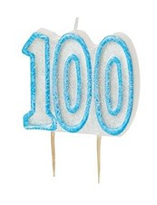 Blue Glitz Theme Number Candle – Number Hundred