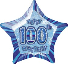 Birthday Blue Glitz Age One Hundred Birthday Star Shape Foil Balloon
