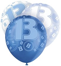 Blue Glitz 13th Birthday Latex Balloons  – Pack of 6 – Assorted Colours