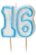 Blue Glitz Theme Number Candle – Number 16