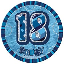 Birthday Blue Glitz Age 18th  Happy Birthday Large Badge