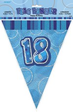 Birthday Blue Glitz 18th Bunting – 12 Ft / 3.65m