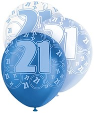 Blue Glitz 21 Birthday Latex Balloons  – Pack of 6 – Assorted Colours