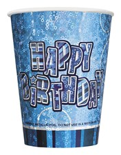 Blue Glitz Happy Birthday Paper Cups - Pack of 24