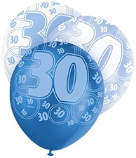 Blue Glitz 30th Birthday Latex Balloons  – Pack of 6 – Assorted Colours