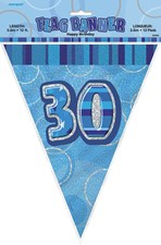 Birthday Blue Glitz 30th Bunting – 12 Ft / 3.65m